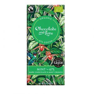 vegansk och ekologisk mörkchoklad Chocolate and love med mint